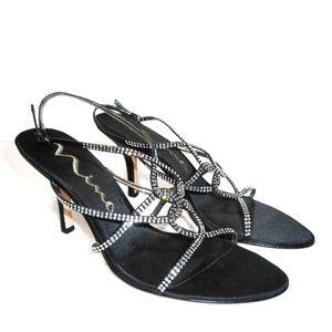 Nina Black Satin Strappy Rhinestone Heels